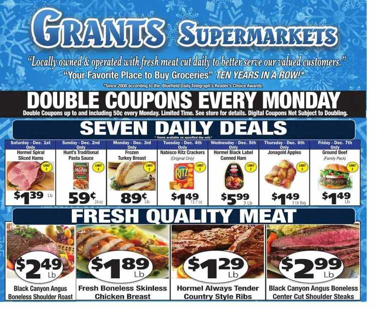 grant's weekly sale ad December 6 & 7 2018